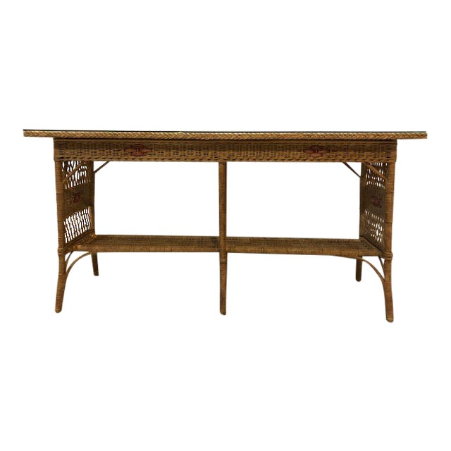 1950s Vintage Wicker Console Table For Sale