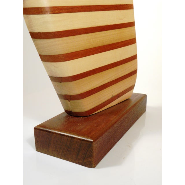 """Vintage Mid-Century Modern Abstract Wooden """"Sail"""" Sculpture - Image 6 of 6"""