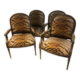 Vintage Henredon Tiger Print Chairs - Set of 4