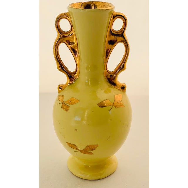 Vintage Yellow Porcelain Bud Vase With 22 Karat Gold Accents For Sale - Image 11 of 11