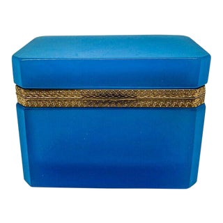 Vintage Blue Opaline Glass Box For Sale