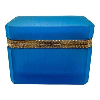Vintage Blue Opaline Glass Box
