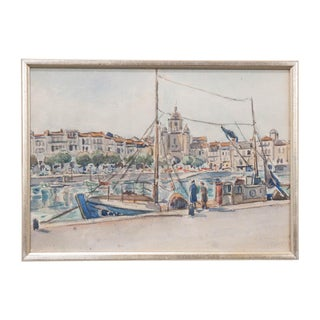 French Vintage Watercolor Painting on Paper For Sale