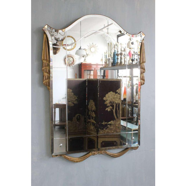 """Italian 1940s mirror with gilt carved wood decoration and etched glass, circa 1940. Measures: 38"""" x 28""""."""