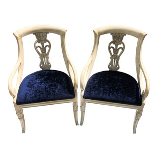 Empire Style Navy Patterned Velvet Seat Chairs- a Pair For Sale