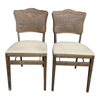 1960s Vintage Mahogany Cane and Vinyl Regency Folding Chairs - a Pair For Sale