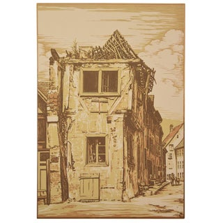 Camille Beltrand - Old House in Thann 1907 Wood Engraving Gazette Des Beaux Arts For Sale