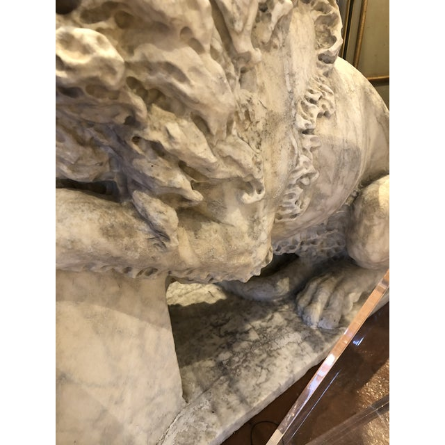 18th Century Marble Lion Statues - a Pair For Sale - Image 11 of 13