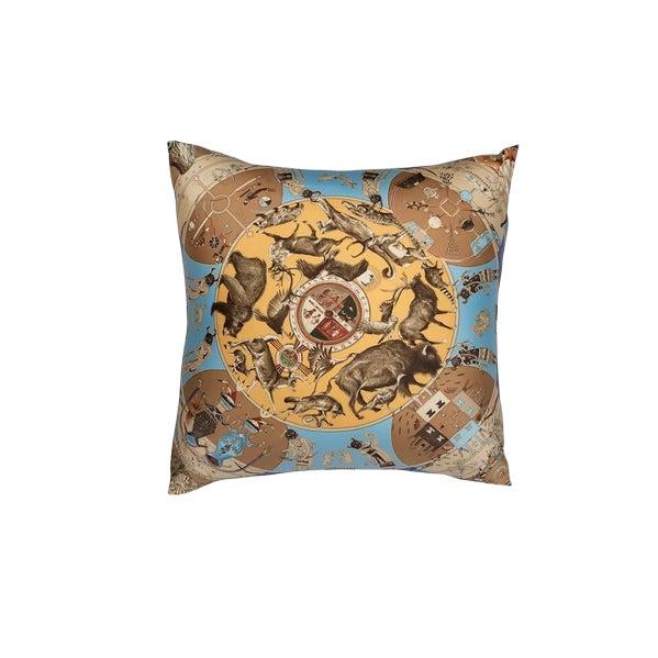 """""""Les Mythologies Des Hommes Rouges"""" Hermès Silk Scarf Pillow For Sale"""