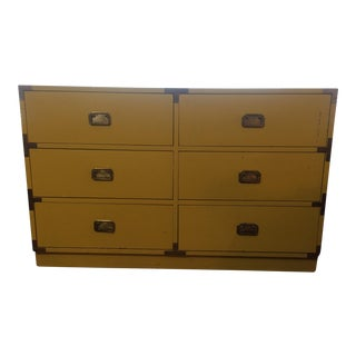 Mid-Century Campaign Yellow Dresser
