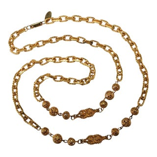Miriam Haskell Chain Necklace With Filigree Accents Vintage For Sale