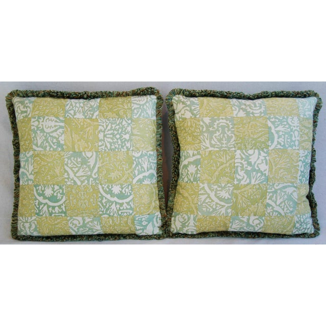 """21"""" Custom Italian Fortuny Piazzetta & Boucher Feather/Down Pillows - Pair - Image 3 of 10"""
