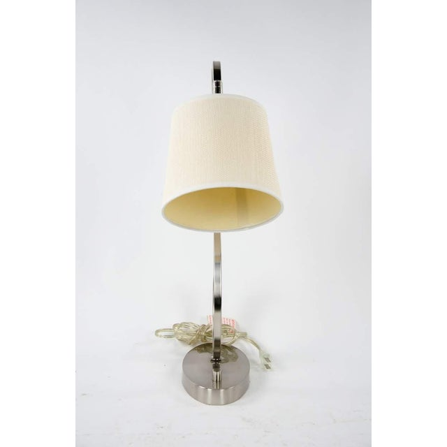 Contemporary Modern Brushed Nickel Desk Lamp For Sale - Image 3 of 10