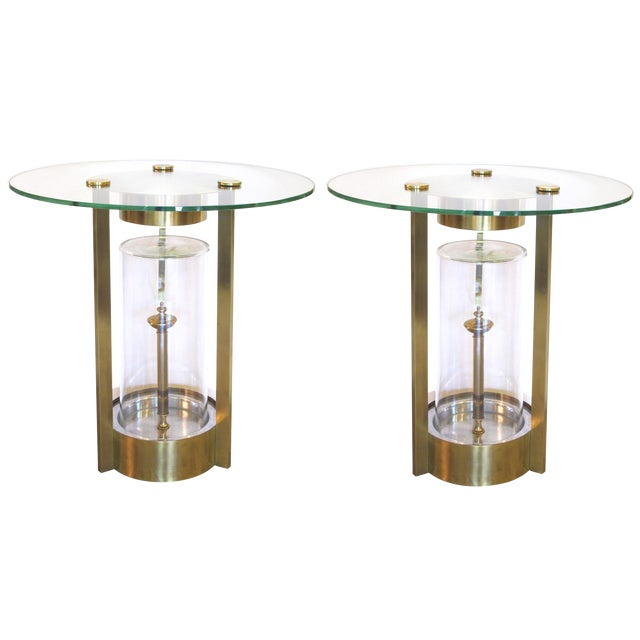 Rare Pair of American Illuminated Side Tables, Designed by Dorothy Thorpe For Sale