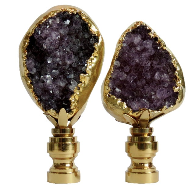 Amethyst Cluster Lamp Finials - A Pair - Image 1 of 3