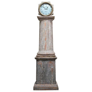 18th Century Swedish Neoclassical Working Long Case Clock in Original Paint For Sale