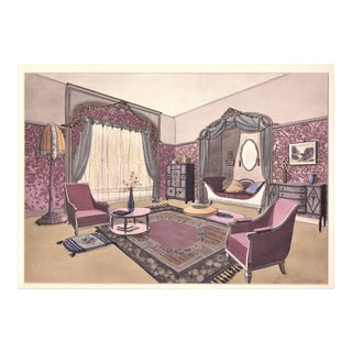 1925 French Art Deco Interior Design Lithograph