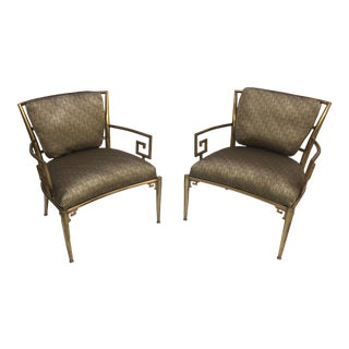 1960s Vintage Hollywood Regency Brass Chairs- a Pair For Sale