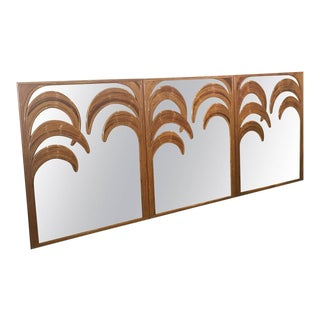 Tropical Leaf Palm Tree Frond Split Reed Bamboo Wall Mirrors - Set of 3 For Sale