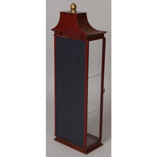 Chinoiserie Red Painted Tole Hanging or Standing Shelf - Image 5 of 5