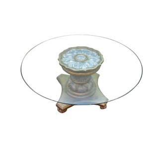 Quality Gilt Rococo French Style Carved Round Glass Top Coffee Table For Sale