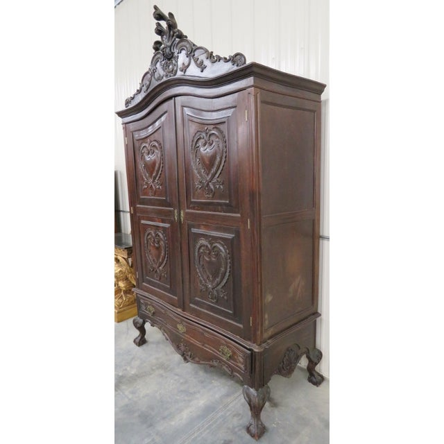Portugese Carved 2-Door Armoire - Image 2 of 10