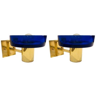 1960s Seguso Murano Brass & Blue Glass Wall Lights - a Pair For Sale