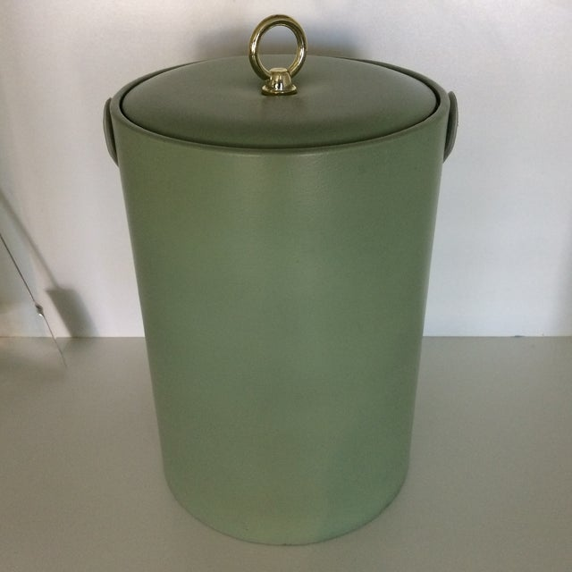 Georges Briard Georges Briard Padded Green and Wood Grain Vinyl Ice Bucket With Ice Tongs For Sale - Image 4 of 13