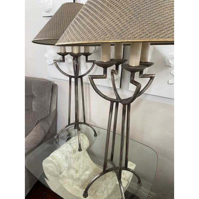 Gothic 1970s Woven Shade Iron Lamps - a Pair For Sale - Image 3 of 9