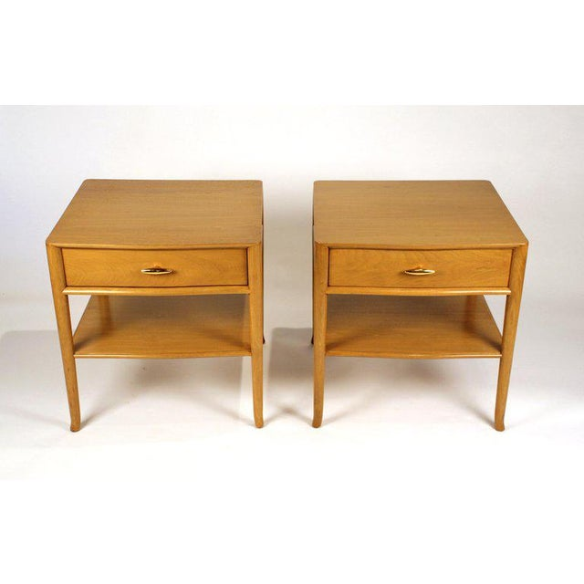 Widdicomb T.H. Robsjohn Gibbings for Widdicomb Bleached Walnut Nightstands - A Pair For Sale - Image 4 of 12