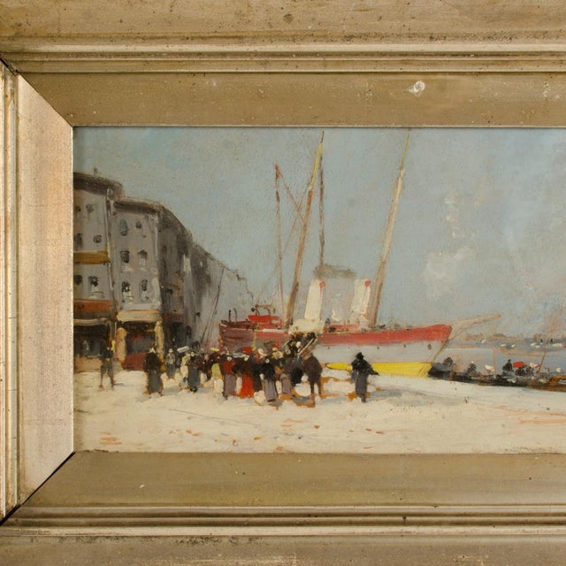 """Realism 19th Century """"Harbor During Date"""" Maritime Oil Painting Signed A. Michel, Framed For Sale - Image 3 of 10"""