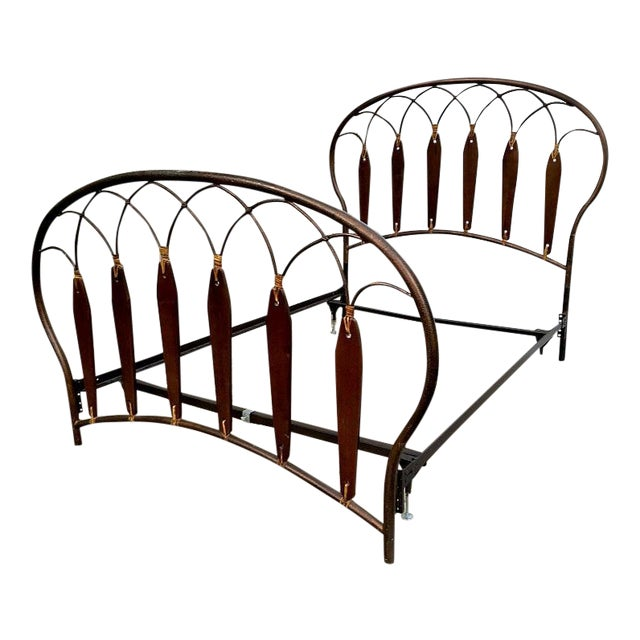 Native American Inspired Metal Wood Leather Full Bed - Image 1 of 10