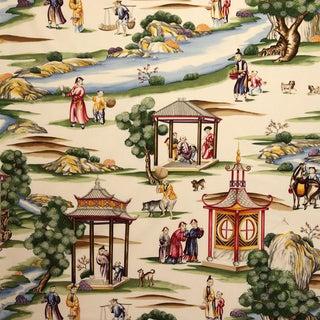 Scalamandre Shanghai Fabric in Multi on Cream For Sale