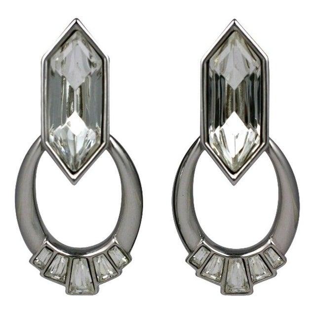 Modern Ysl Jeweled Hoop Earrings For Sale - Image 3 of 3