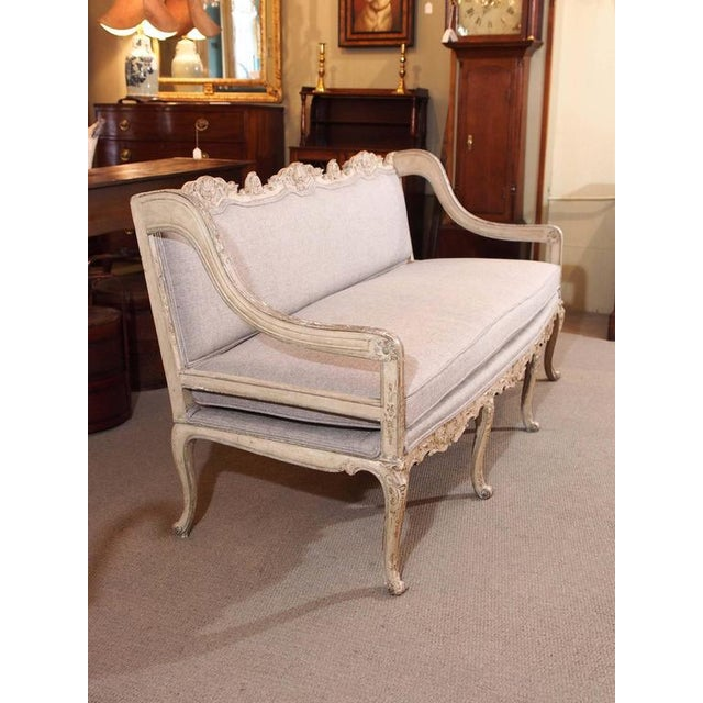 Textile Antique French rococo grissaile Sofa For Sale - Image 7 of 7