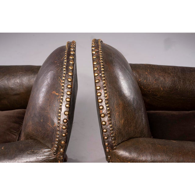 All Original French Art Deco Leather Club Chairs With Velvet Cushions-A Pair For Sale - Image 11 of 13