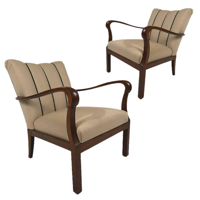 Danish Modern Mahogany Open Armchairs - a Pair For Sale