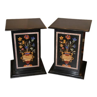 Pedestals, Petra Dura Marble Stone Inlay, Pair For Sale