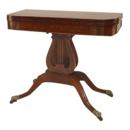 American Federal Style (19th Cent) Mahogany Flip Top Console/Card Table With Lyre Base For Sale