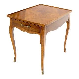 Baker French Regency Satinwood One-Drawer Side End Lamp Table For Sale