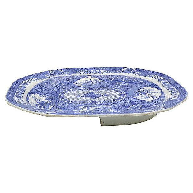 Large antique Spode well and tree platter. There are rivulets for the juices to drain in to the deep well in the platter...