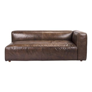 Walnut Modern Leather Sofa (Right Arm) For Sale