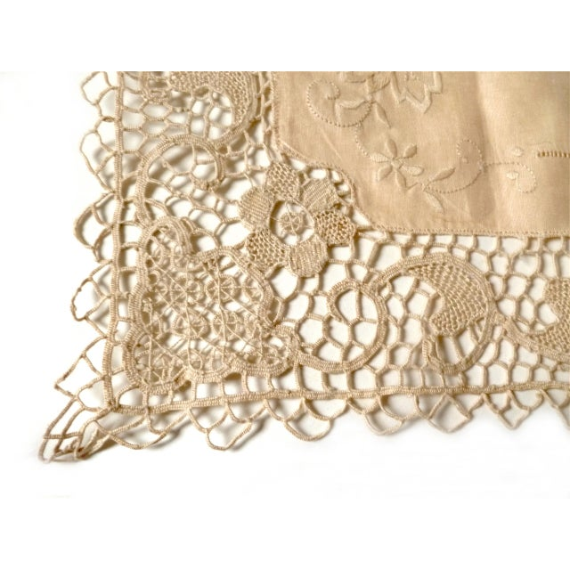 Americana Antique Arts and Crafts Lace Embroidery Table Runner For Sale - Image 3 of 7