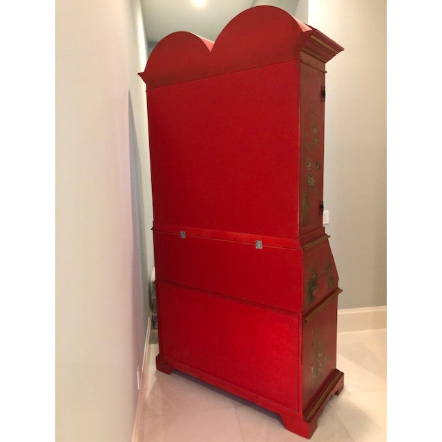 Asian 1970s Chinoiserie Red Lacquer Secretary Cabinet For Sale - Image 3 of 8