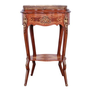Italian Ornate Inlaid Side Table With Mounted Ormolu For Sale