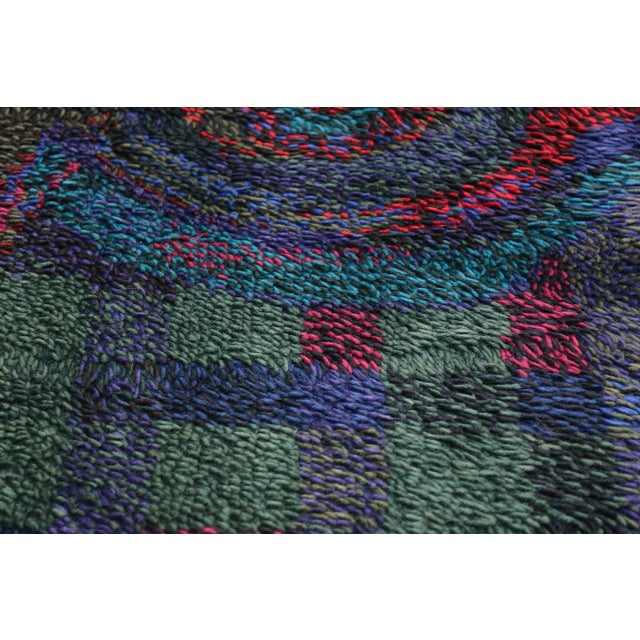 Ritva Puotila Vintage Scandinavian Rya Rug by Ritva Puotila - 4′5″ × 5′10″ For Sale - Image 4 of 10