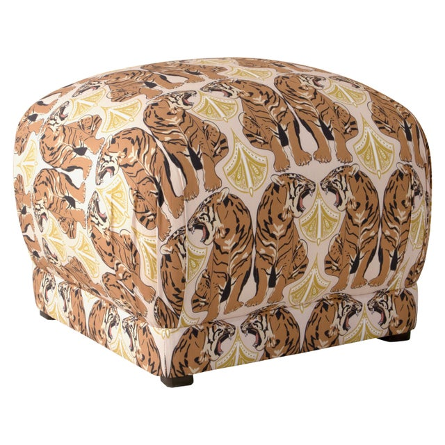 Not Yet Made - Made To Order Square Ottoman in Chan Tiger Blush Oga For Sale - Image 5 of 5