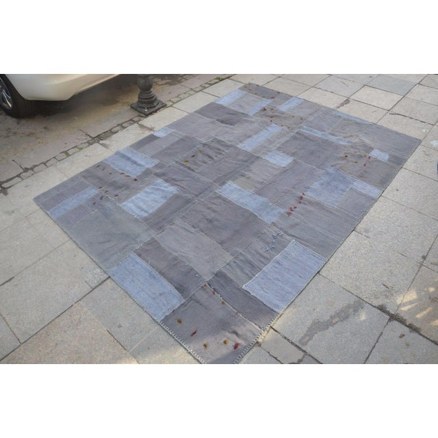 Islamic Gray Patchwork Rug - 5′8″ × 7′10″ For Sale - Image 3 of 6
