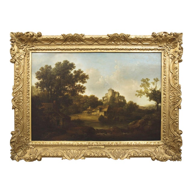 """""""Landscape W/ Castle Ruins"""" Antique English Painting by George Smith of Chichester For Sale"""
