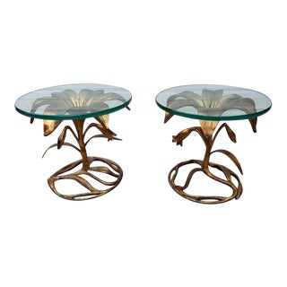 Hollywood Regency Arthur Court Gold Gilded Lily Based Glass Top Side Tables - Pair For Sale